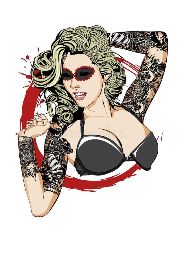 Tattooed夫人的 库存图片