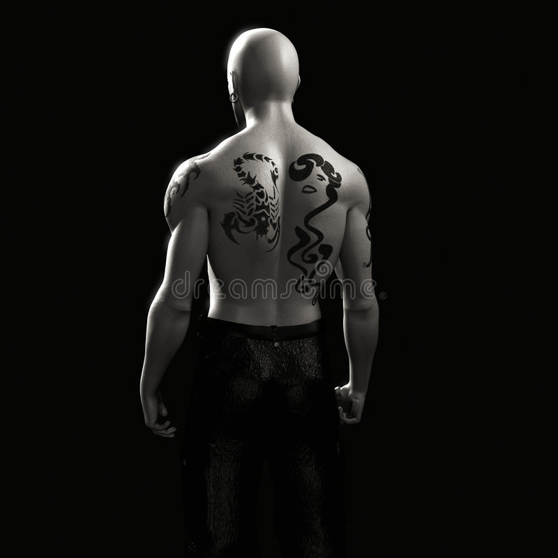 Tattooed back of muscular man stock illustration