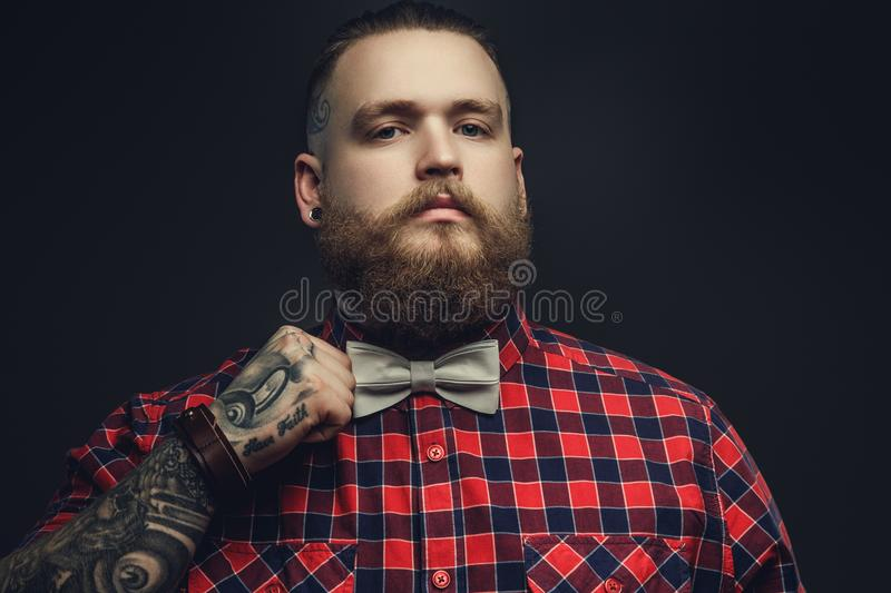 Tattooed bearded unformal male in red shirt and grey bow tie. stock photo