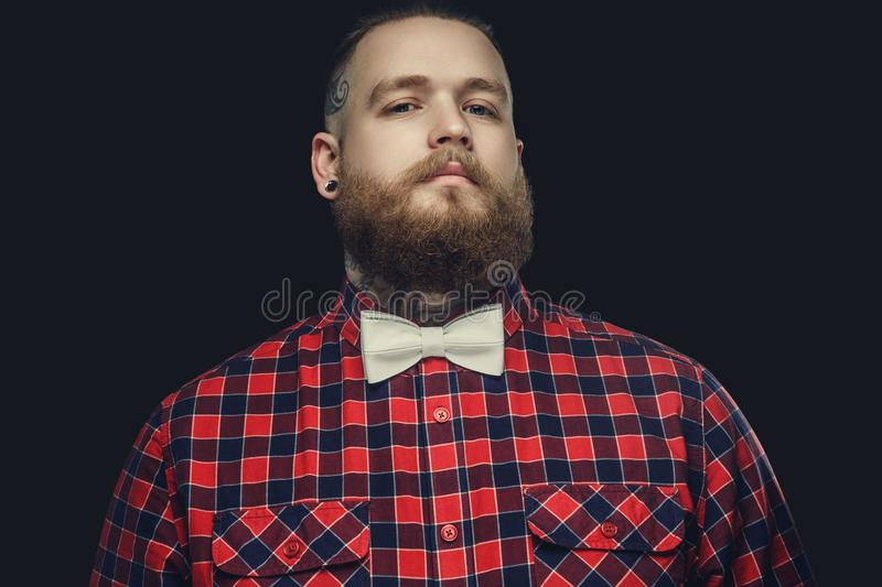 Tattooed bearded unformal male in red shirt and grey bow tie. stock photos