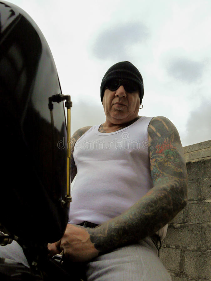 Tattooed Biker royalty free stock image
