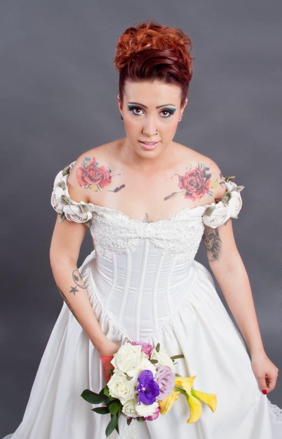 Download Tattooed bride portrait stock image. Image of bridal - 27002503