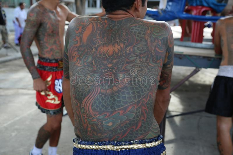 Tattooed Gangster in Thailand stock photo