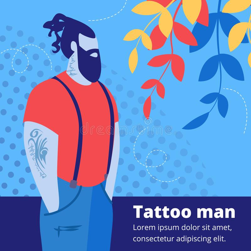 Tattooed Handsome Bearded Hipster Man Character vector illustration