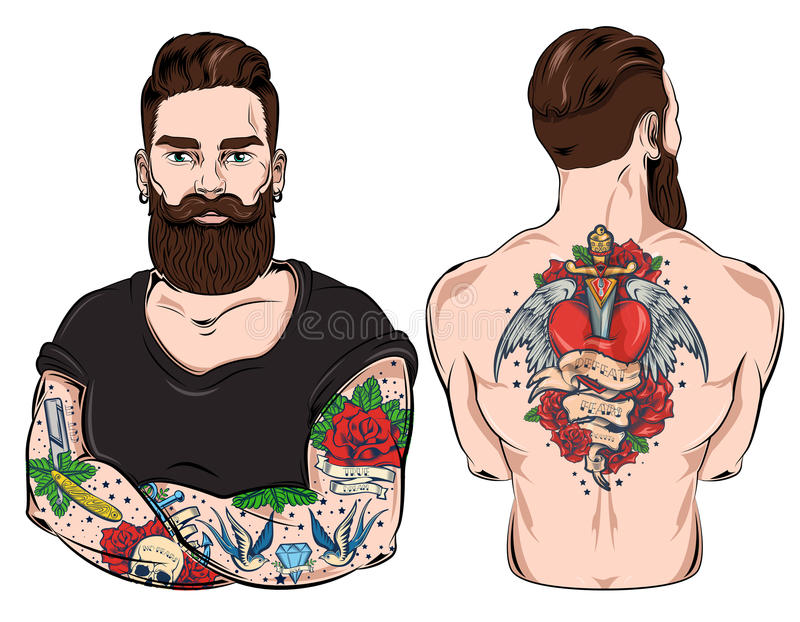 Tattooed Man Character Set vector illustration