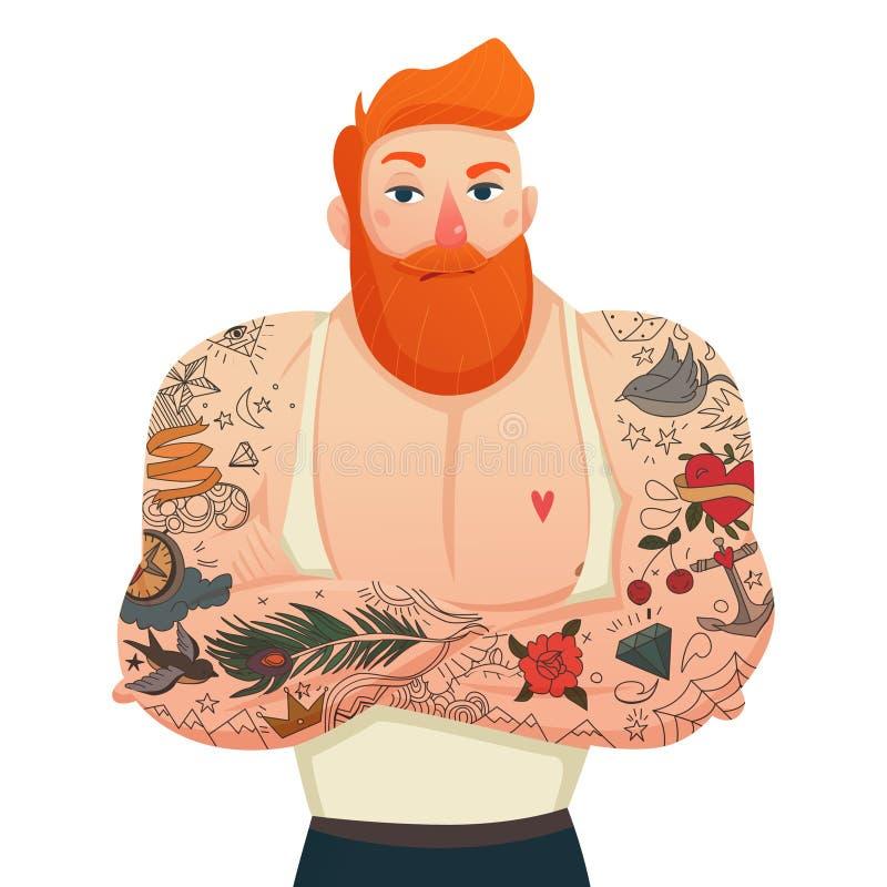 Tattooed Man Figurine vector illustration