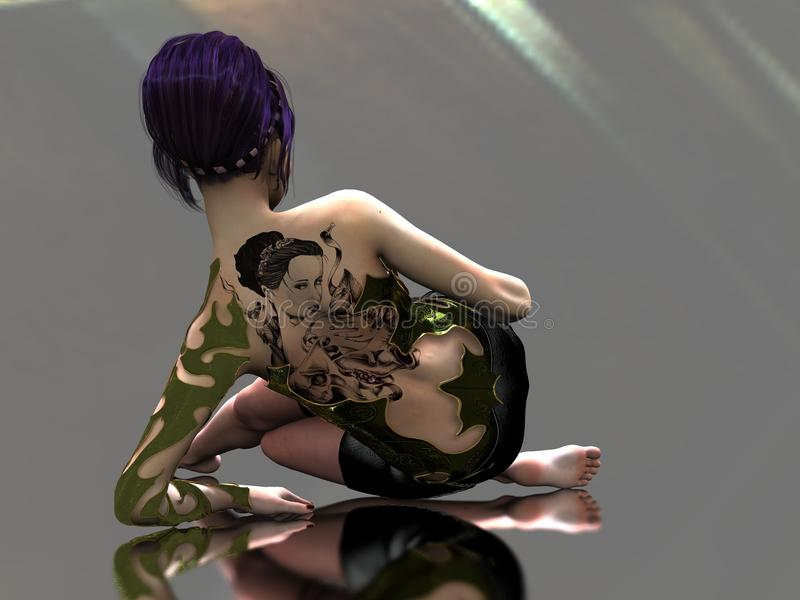 Tattooed woman on reflective surface vector illustration