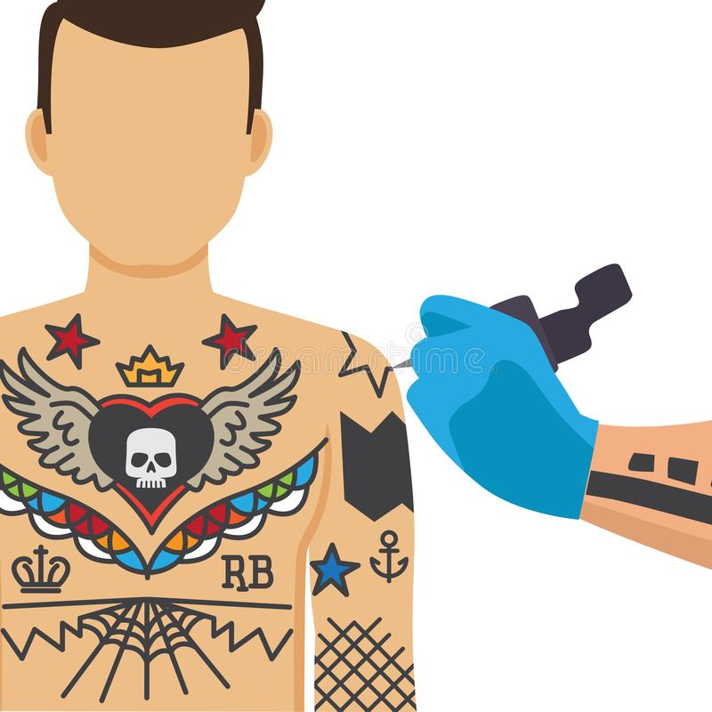 Tattooing process illustration vector illustration