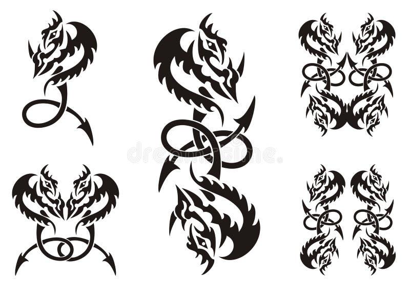 Tattoos Of Dragon Symbols With An Arrow Stock Vector Illustration