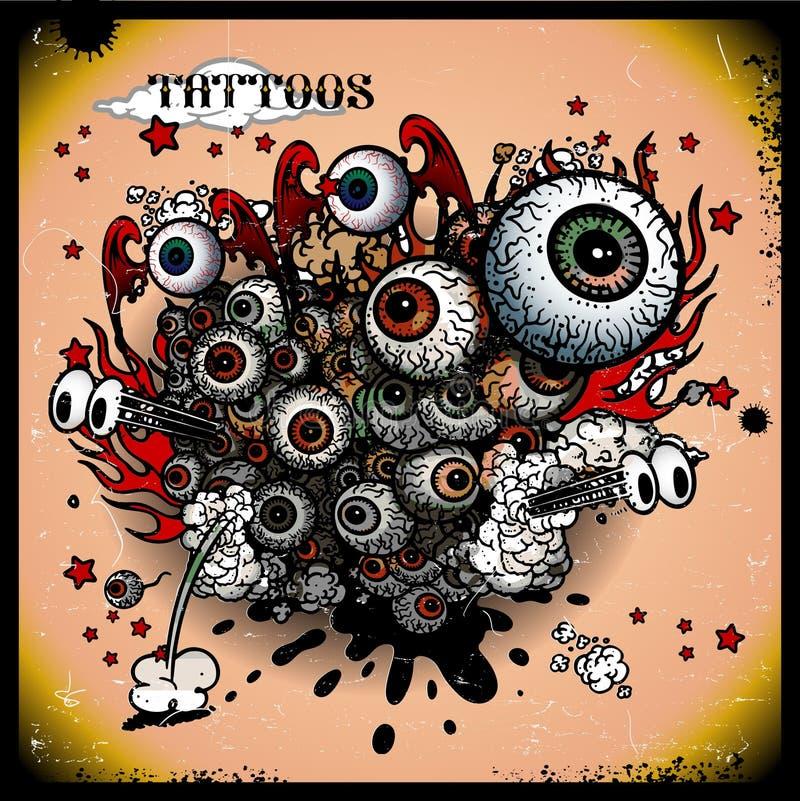 Tattoos eye explosion stock illustration