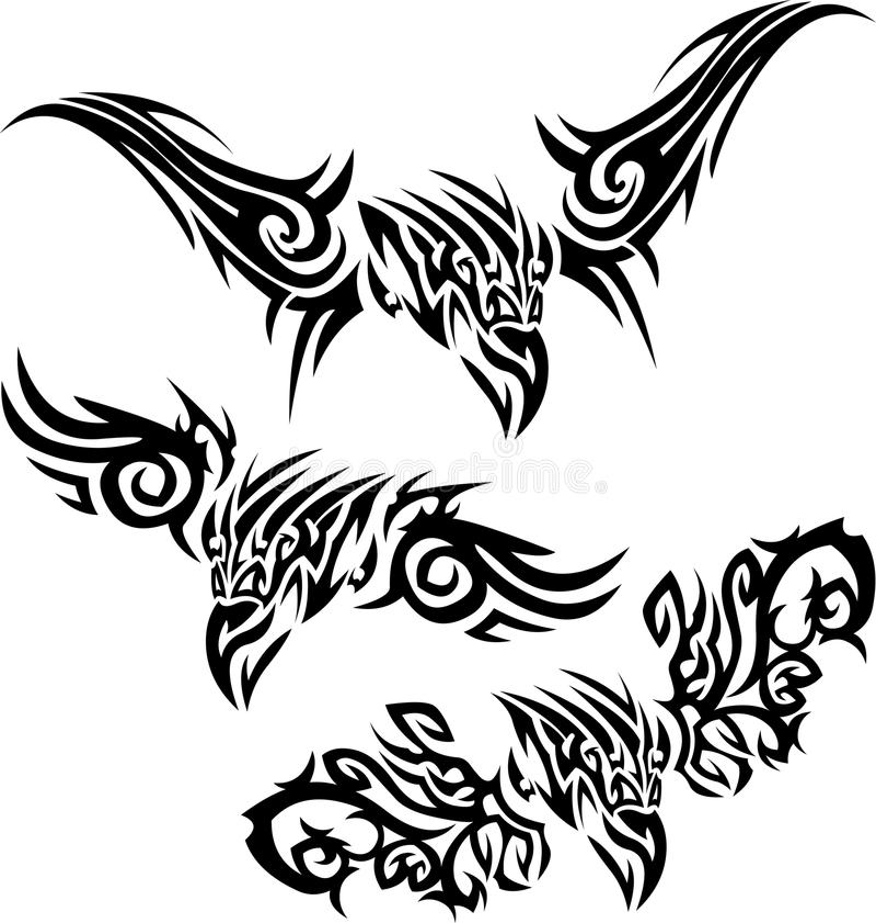 tattoos prey птиц иллюстрация вектора