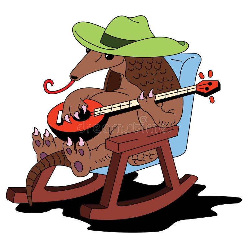 Tatu em jogos do chapéu no banjo ilustração royalty free