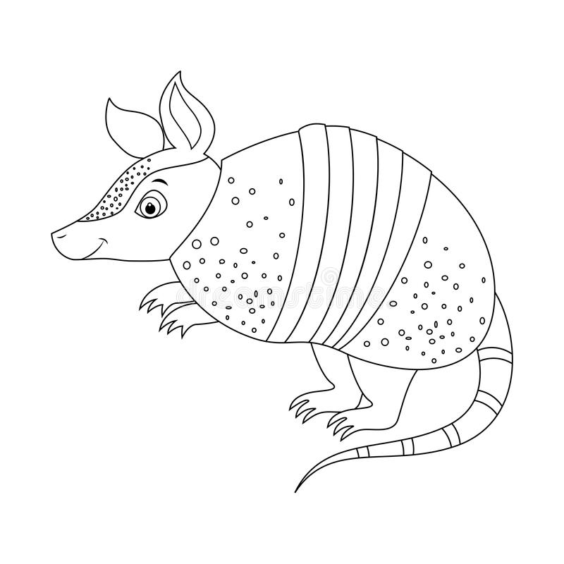 Tatu engraçado incolor dos desenhos animados ilustração stock