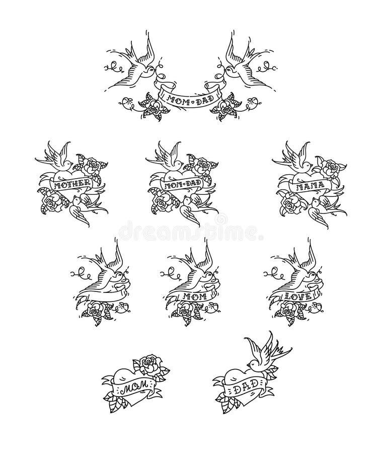 Tatuaż łyka z inskrypcją mama tata na taśmie również zwrócić corel ilustracji wektora Tatuaż, Amerykańska stara szkoła Dwa ptak d ilustracja wektor