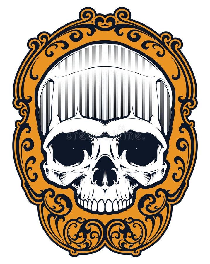 Tatuaż czaszka w ramie ilustracja wektor