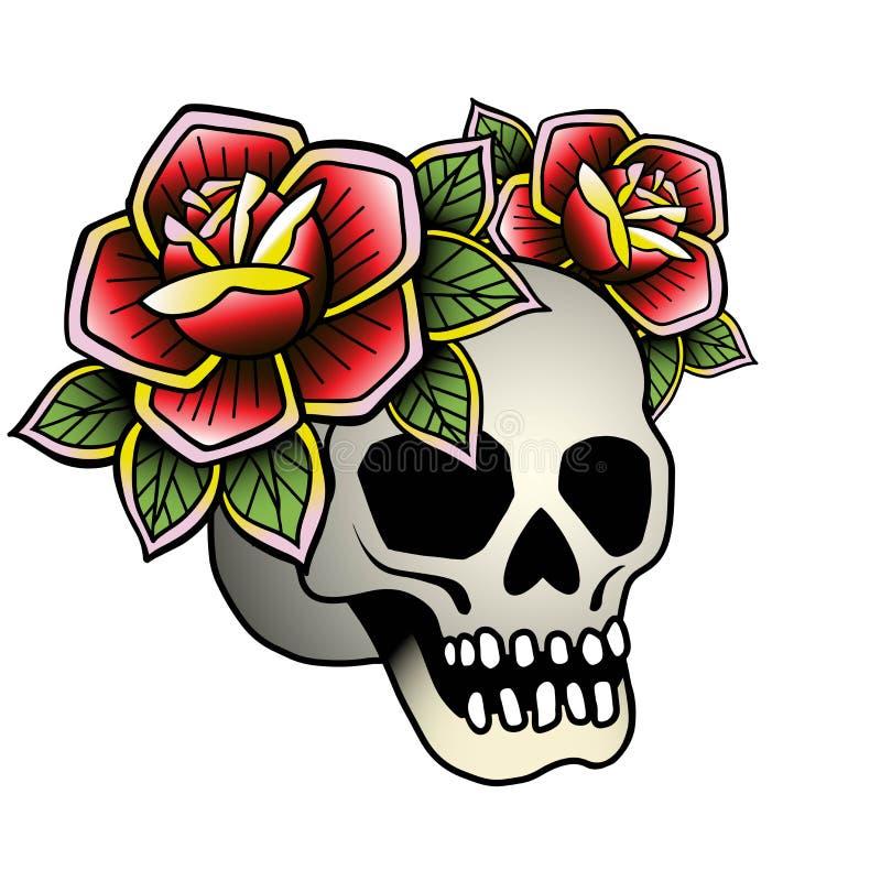 Tatuaż czaszka z wzrastał Wektorowego ilustracyjnego stara szko?a tatua?u kreskowa sztuka Stosowny dla drukować przeniesienie maj ilustracja wektor