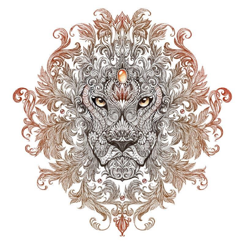 Tatuaż, grafika lew z grzywą głowa ilustracja wektor