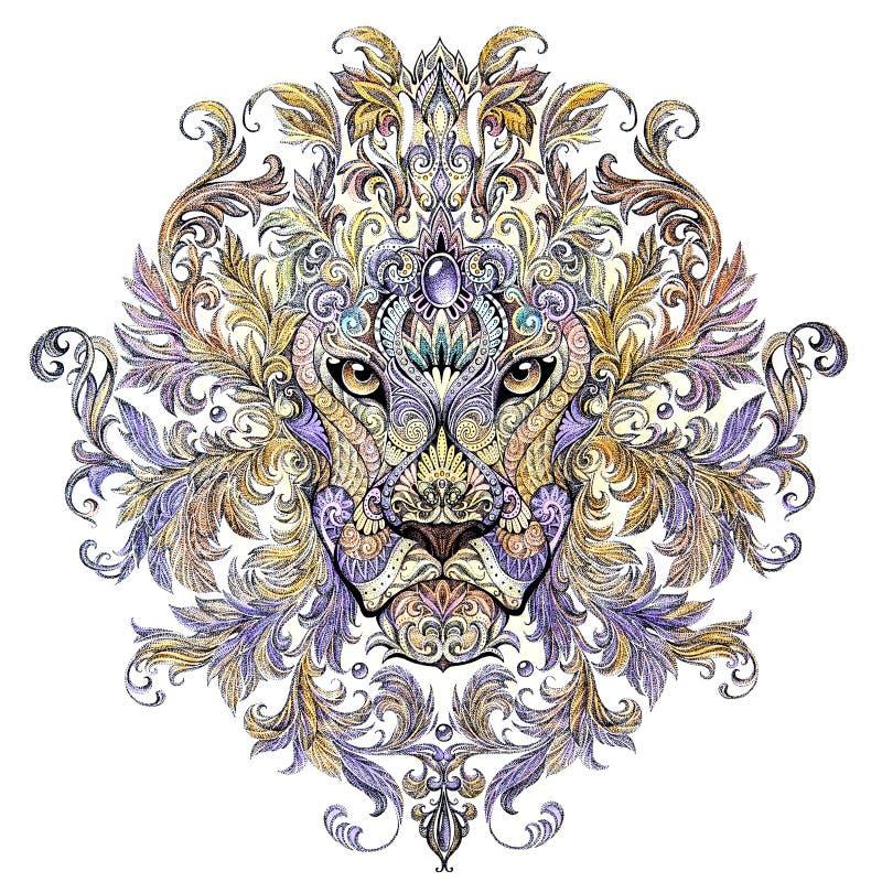 Tatuaż, grafika lew z grzywą głowa ilustracji