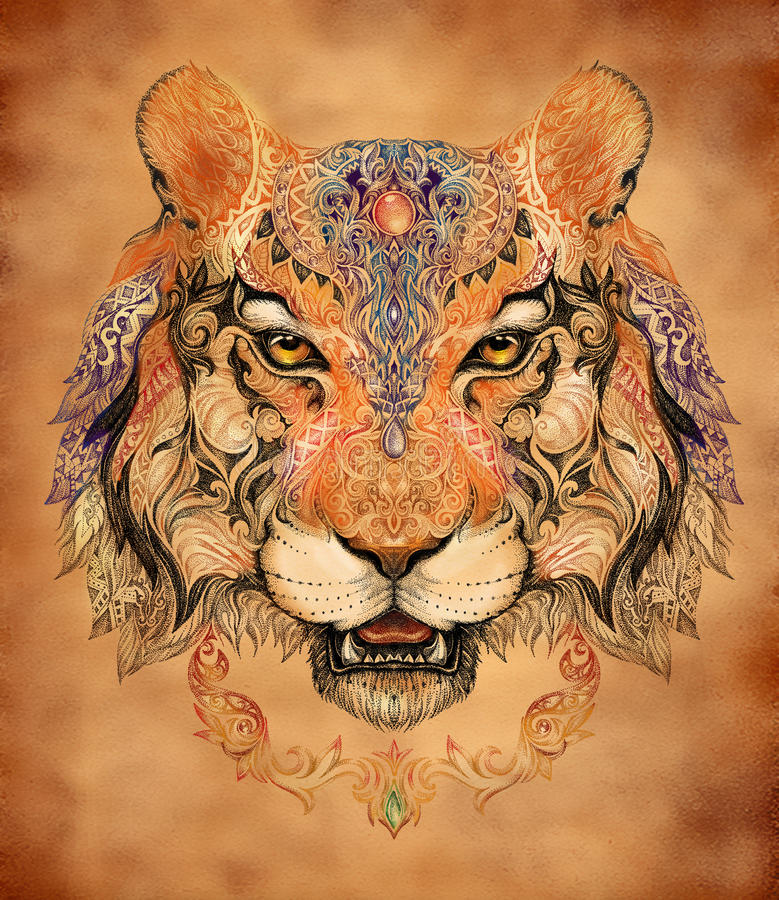 Tatuaż, grafika tygrys głowa ilustracja wektor