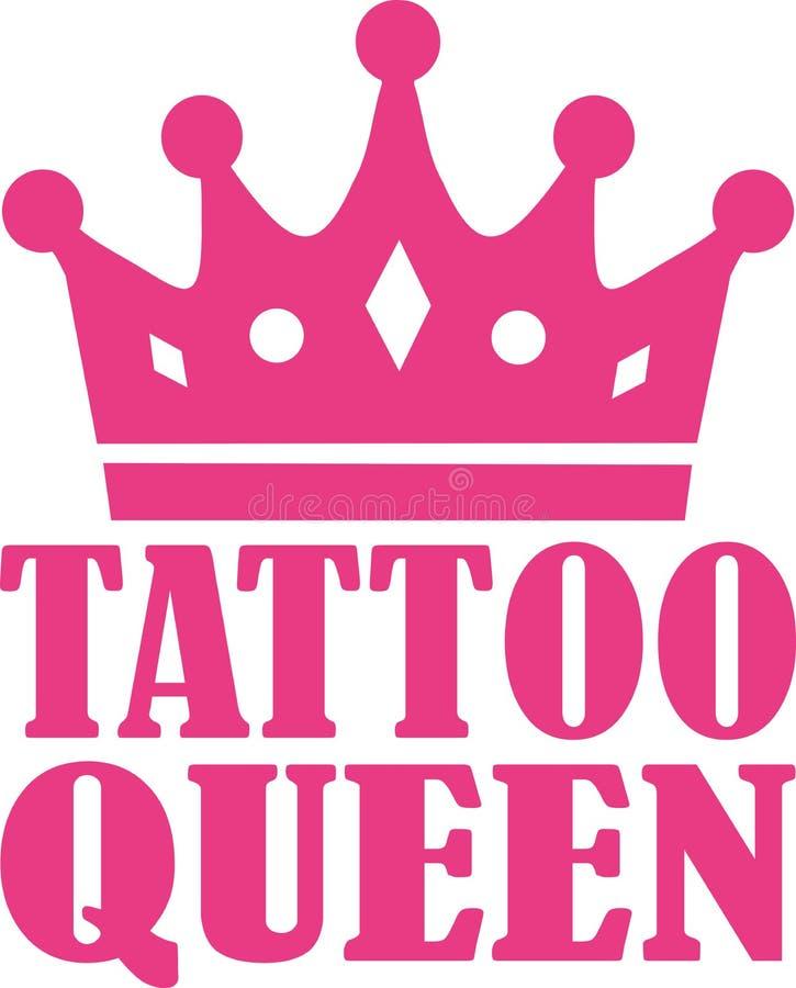 Tatuaż królowa z koroną royalty ilustracja