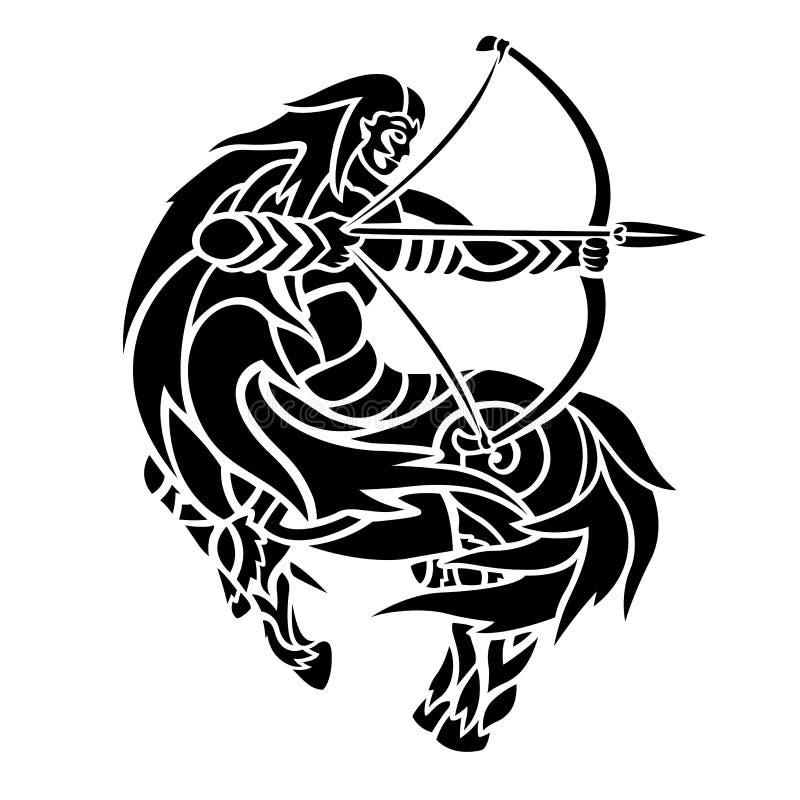 Tatuaż sztuka z czarną centaur łuczniczki sylwetką ilustracja wektor