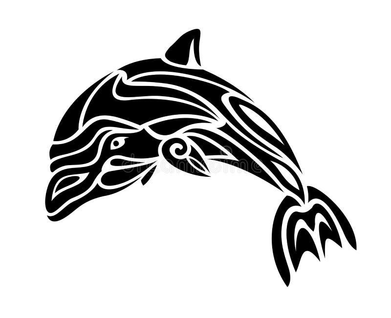 Tatuaż sztuka z czarny i biały delfin sylwetką royalty ilustracja