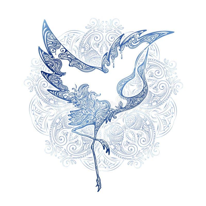 Tatuażu dancingowy żuraw ilustracja wektor