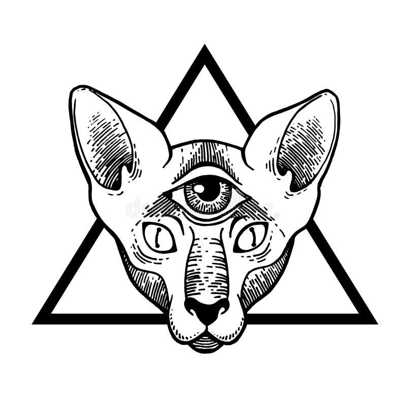 Tatuażu kot Wektorowa ilustracyjna sztuka Rocznika rytownictwo royalty ilustracja