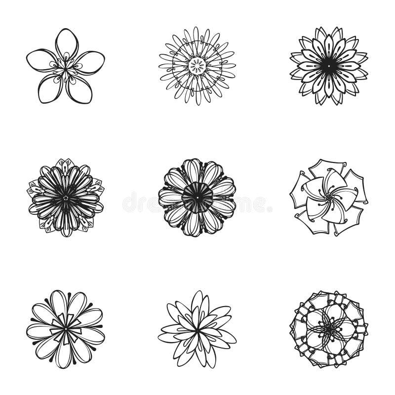 Tatuażu kwiatu ikony set, prosty styl royalty ilustracja