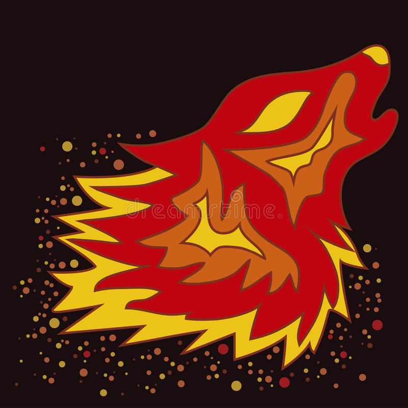 Tatuażu Pożarniczy wilk, wektor ilustracji