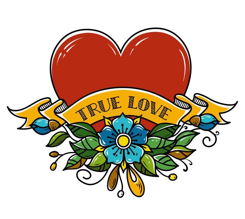 Tatuażu serce przebijający z strzała Serce dekorował z kwiatami, liśćmi i faborkiem, prawdziwa miłość Amour symbol royalty ilustracja
