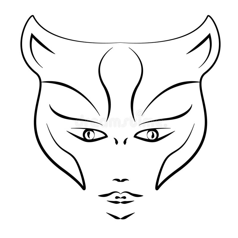 Tatuażu styl, kobieta tygrysa maska ilustracji