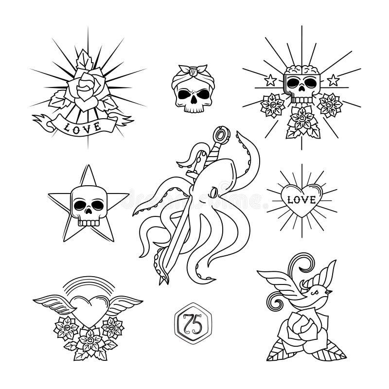 Tatuaży kreskowi elementy ilustracja wektor