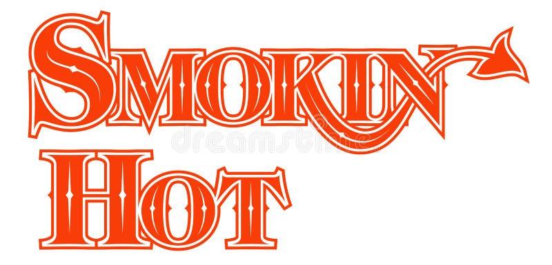 Tatuaży słowa Dymi Gorącego Gockiego słowo stylu projekt z diabłami ta royalty ilustracja