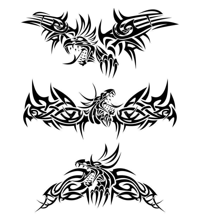 Tatuaa i draghi illustrazione di stock