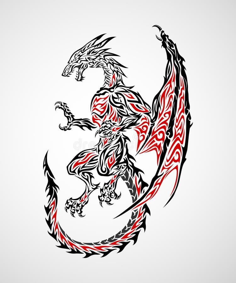 Tatuagem 2 do dragão ilustração stock