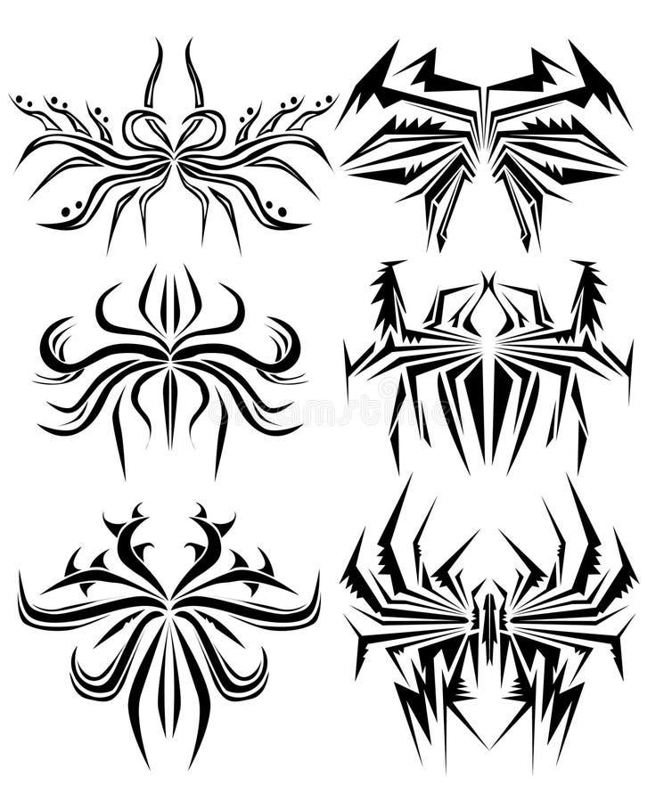 Tatuagem abstrato da aranha ilustração stock