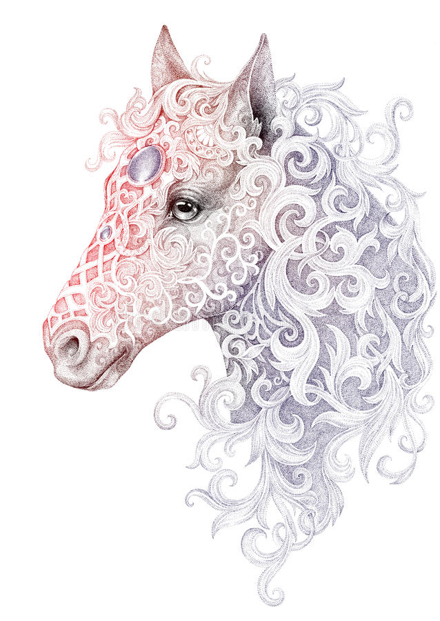 Tatuagem, cabeça de cavalo bonita com uma juba ilustração stock