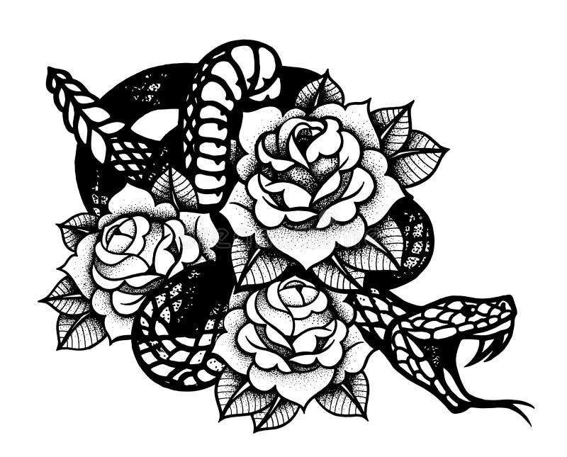 Tatuagem com rosa e serpente Tinta preta tradicional do estilo do ponto ilustração royalty free