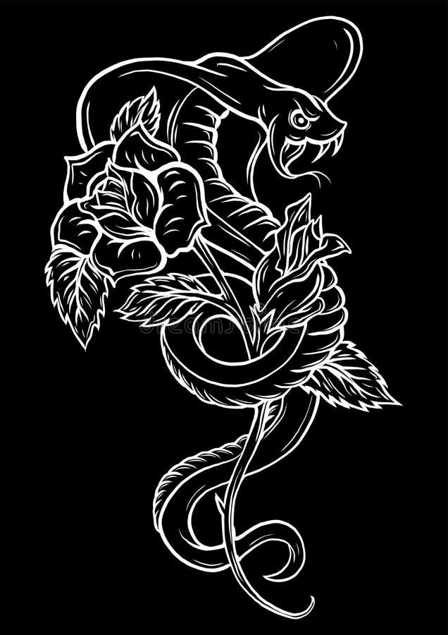 Tatuagem com rosa e serpente Tinta preta tradicional do estilo do ponto Ilustra??o isolada rosas do vetor Tatuagem tradicional ve ilustração stock