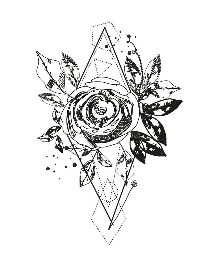 Tatuagem cor-de-rosa da silhueta do sumário As formas geométricas do triângulo e aumentaram Flores pretas abstratas das horas de  ilustração stock