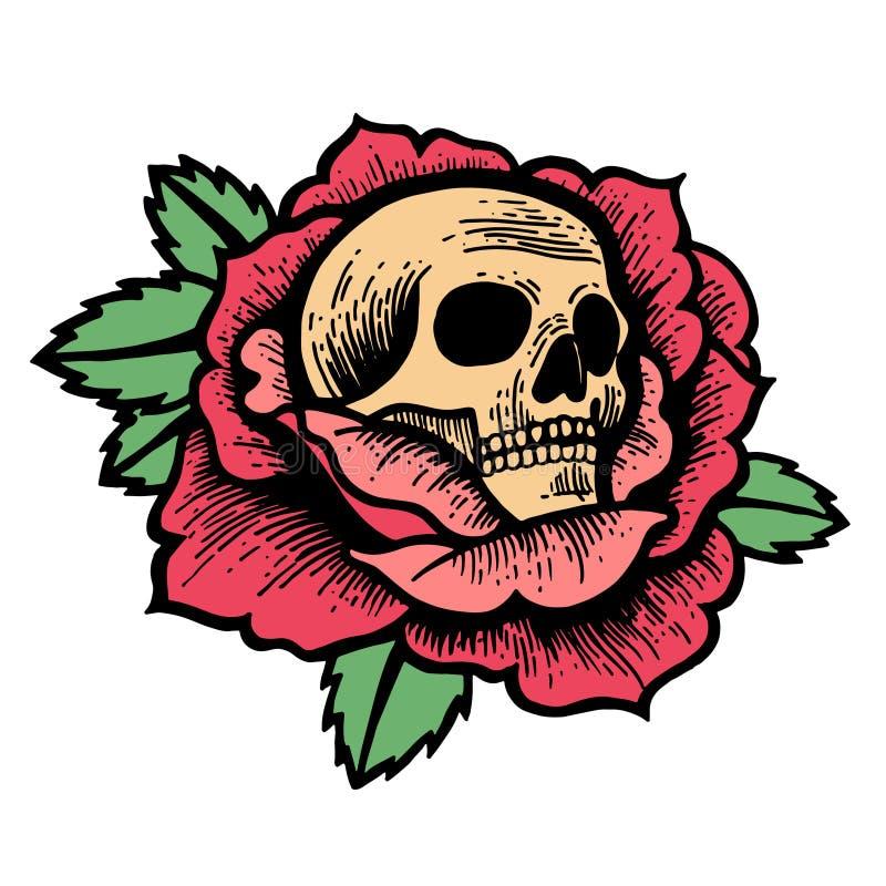 Tatuagem cor-de-rosa da velha escola com crânio ilustração do vetor