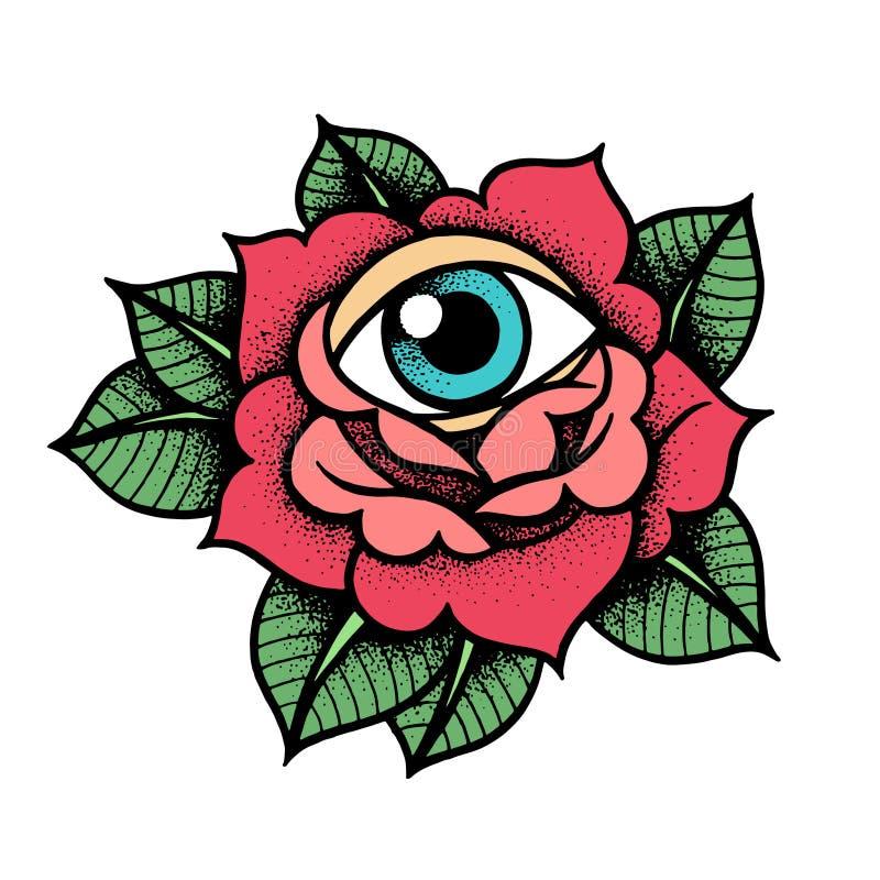 Tatuagem Cor De Rosa Da Velha Escola Com Olho Ilustração Do