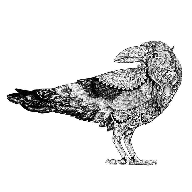 Tatuagem, corvo do dotwork ao estilo do steampunk ilustração royalty free