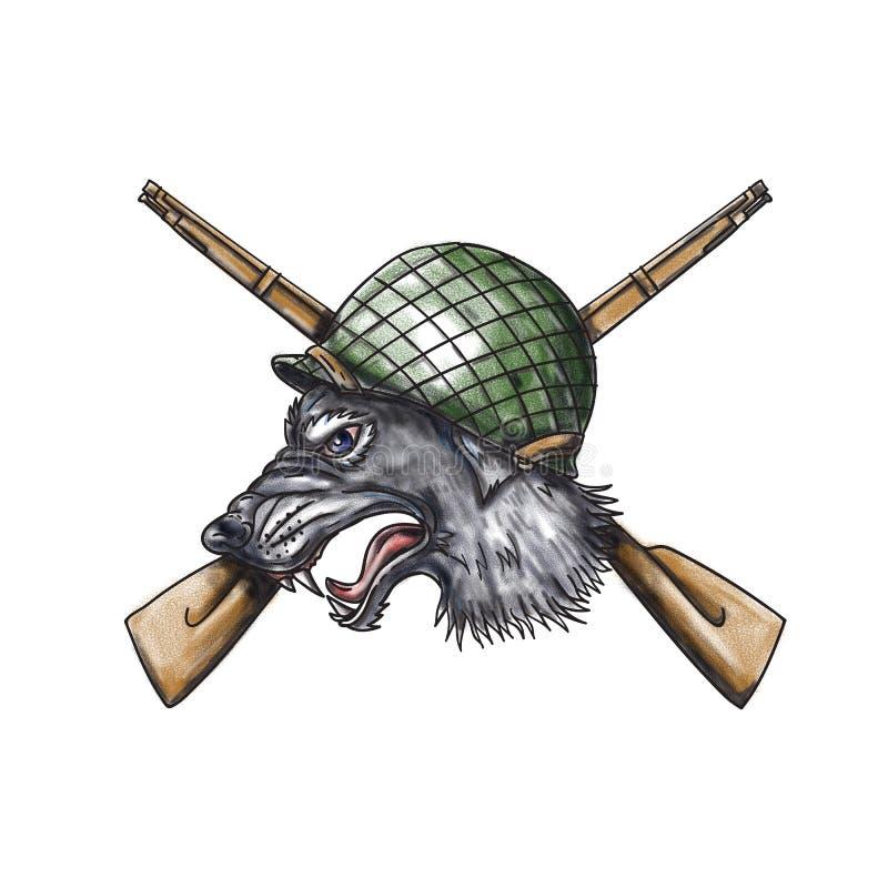 Tatuagem cruzada capacete dos rifles de Grey Wolf WW2 ilustração royalty free
