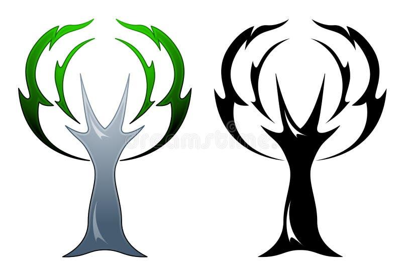Tatuagem da árvore de carvalho ilustração royalty free