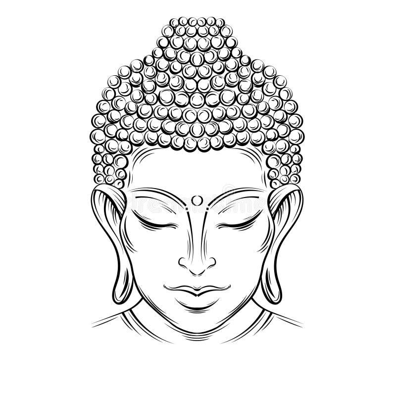 Tatuagem da cabeça do ` s da Buda ilustração royalty free