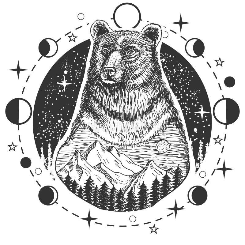 Tatuagem da cabeça do urso do vetor ou projeto da cópia do t-shirt ilustração royalty free