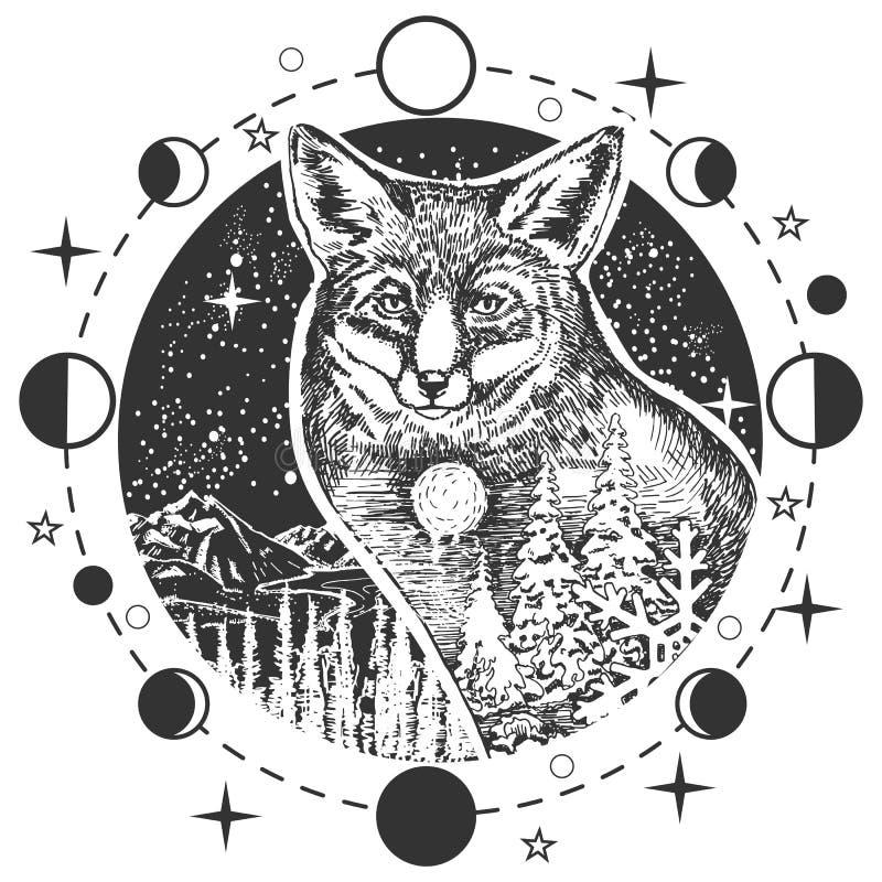 Tatuagem da cabeça da raposa do vetor ou projeto da cópia do t-shirt ilustração do vetor