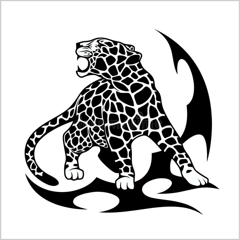 Tatuagem da chama de Jaguar ilustração stock